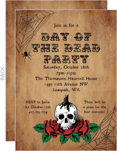 Vintage Rose Day of the Dead Invitation