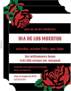 Black and White Stripe Day of the Dead Invitation