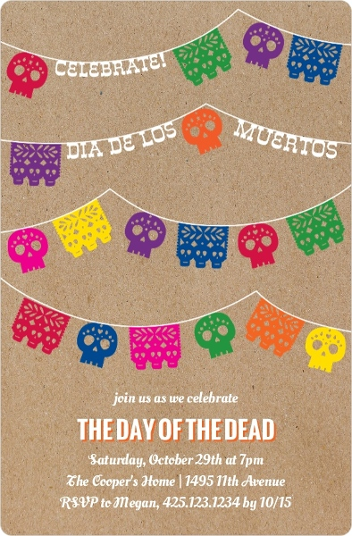 Skull Banner Day Of The Dead Party Invitation Halloween Invitations - Day of the dead party invitation template