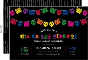 Colorful Cutout Banner Dia De Los Muertos Party Invitation