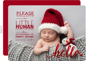 Red Foil Little Human Birth Announcement