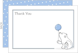 Soft Blue Polar Bear Baby Shower Thank You Card