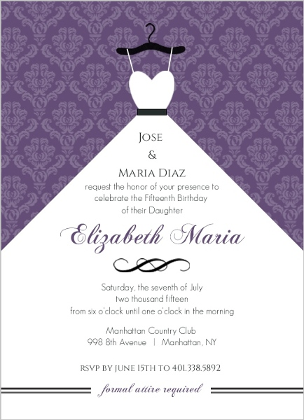 Cheap quinceanera invitations invite shop purple damask and white dress quinceanera invitation solutioingenieria Image collections