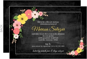 Chalkboard Floral Quinceanera Invitation