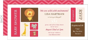 Pink and Brown Animal Baby Shower Invitation