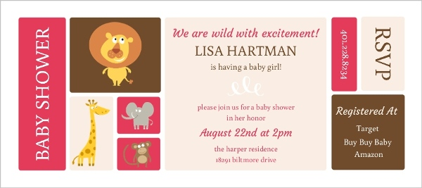 Pink And Brown Animal Baby Shower Invitation Girl Baby Shower