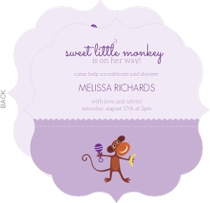 Two Tone Purple Monkey Baby Shower Invitation