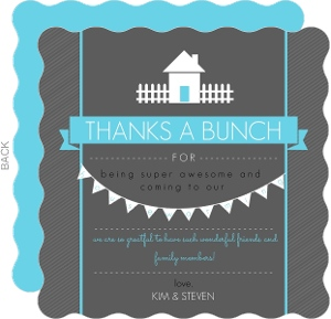 Bright Blue and Dark Gray Housewarming Thank You Card