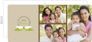 Light Brown and Green Multiphoto Housewarming Thank You Card
