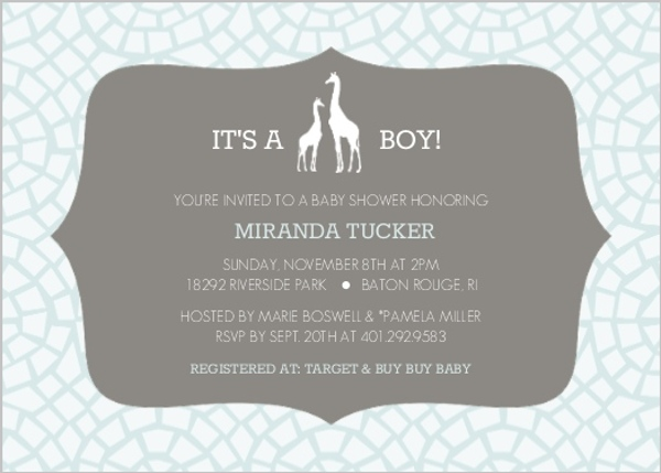 Pale Blue Giraffe Baby Shower Invitation Boy Baby Shower Invitations