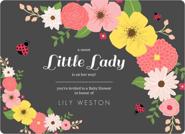 Cheap girl baby shower invitations invite shop charcoal floral ladybug baby shower invitation filmwisefo Images