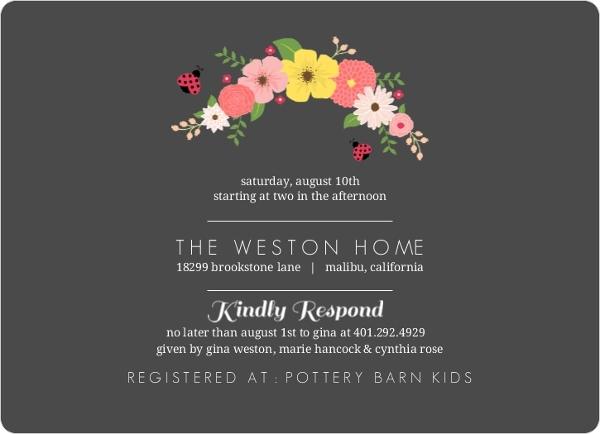 Charcoal Floral Ladybug Baby Shower Invitation Girl Baby Shower