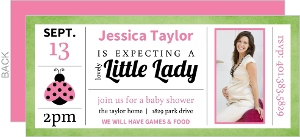 Pink and Green Photo Ladybug Baby Shower Invitation