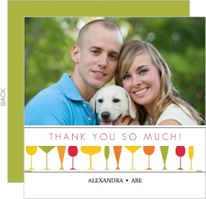 Orange Red and Green Glasses Housewarming Thank You Card