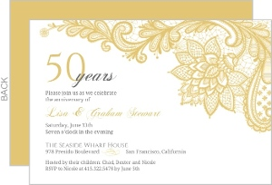 Cheap custom 50th anniversary invitations invite shop intricate gold lace anniversary invitation stopboris Gallery