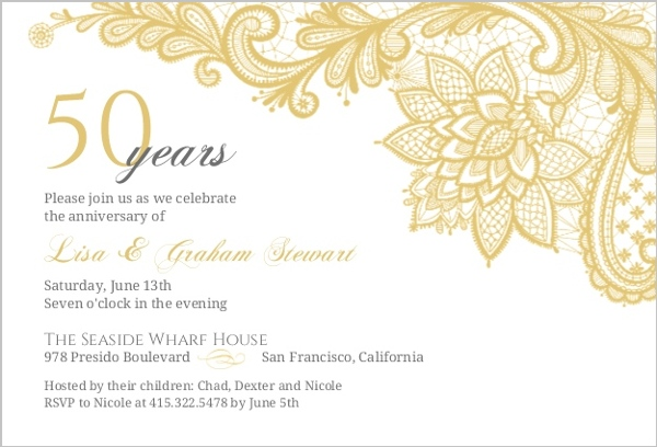 Golden Wedding Invitations Free: Intricate Gold Lace Anniversary Invitation