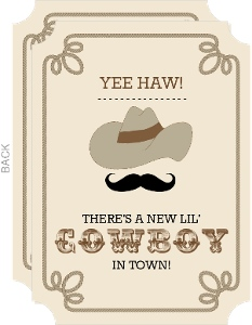 Welcome Little Cowboy Birth Announcement