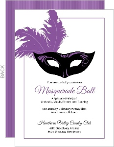 Elegant Feathered Mask Mardi Gras Party Invitation