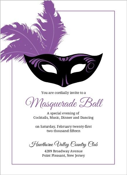 Elegant Feathered Mask Mardi Gras Party Invitation