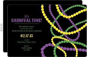 Festive Beads Mardi Gras Party Invitation