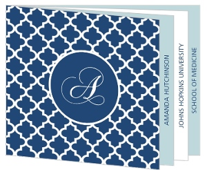 Royal Blue Pattern Medical Graduation Booklet Invitation
