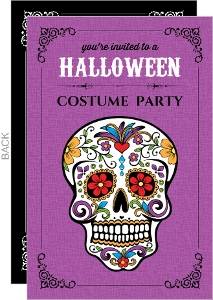 Day of the Dead Skull Halloween Party Invite