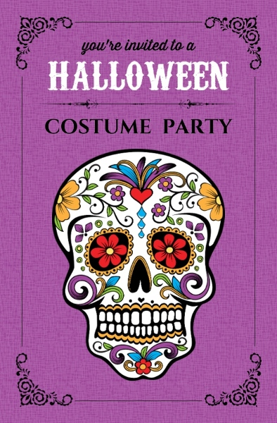 Day Of The Dead Skull Halloween Party Invite Halloween Invitations - Day of the dead party invitation template