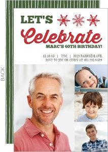 Baby Photos Holiday 60th Birthday Invitation