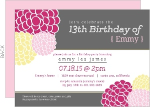 Pink & Yellow Decoration Flower Birthday Invitation