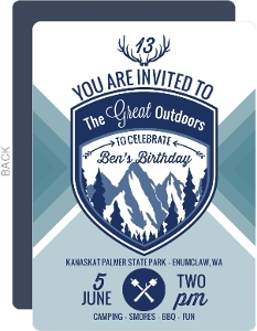 Great Outdoors Camping Birthday Party Invitation