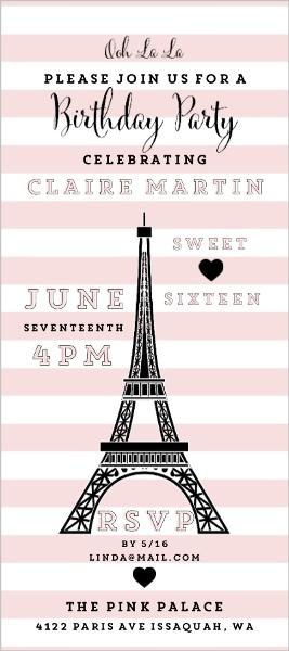 Pretty in paris birthday party invitation teen birthday invitations pretty in paris birthday party invitation filmwisefo
