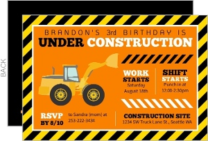 Fun Construction Truck Birthday Party Invitation