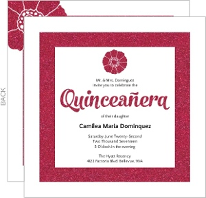Modern Pink Faux Glitter Quinceanera Invitation