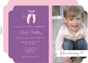 Ballerina Slippers Purple Kids Birthday Invitations