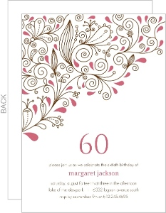 Pink Vines 60th Birthday Party Invitation