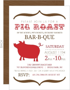 Modern Brown and Red Pig Roast BBQ Invite