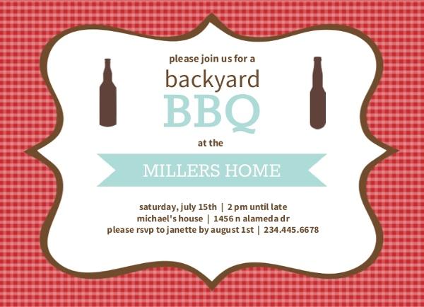 checkered backyard bbq party invite bbq invitations