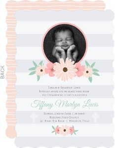 Delicate Pink Flowers Christening Announcement