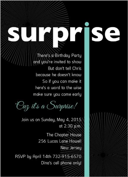 Black Big Surprise Birthday Party Invitation Adult Birthday