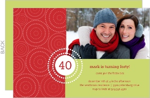 White Red and Green Holiday 40th Birthday Invitation