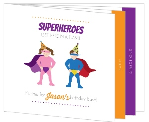 Awesome Superheroes Kids Booklet Birthday Invitation