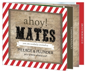Rustic Paper Pirate Birthday Booklet Invitation