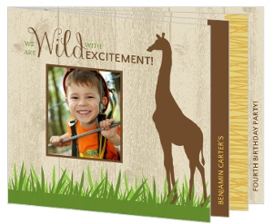 Wild Safari Animals Birthday Party Booklet Invitation