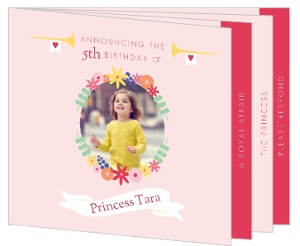 Cute Floral Princess Birthday Party Booklet Invitation