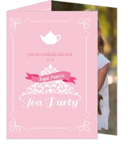 Pink Royal Tea Party Birthday Invitation