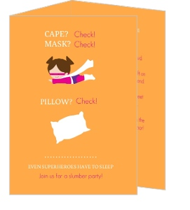 Orange Super Slumber Party Birthday Invitation