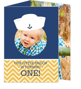 Nautical Sailor Hat Birthday Party Invitation