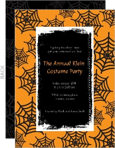 Orange Spider Web Halloween Party Invitations