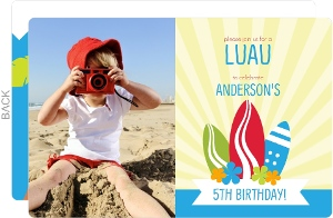 Surf and Luau Themed Birthday Party Invite