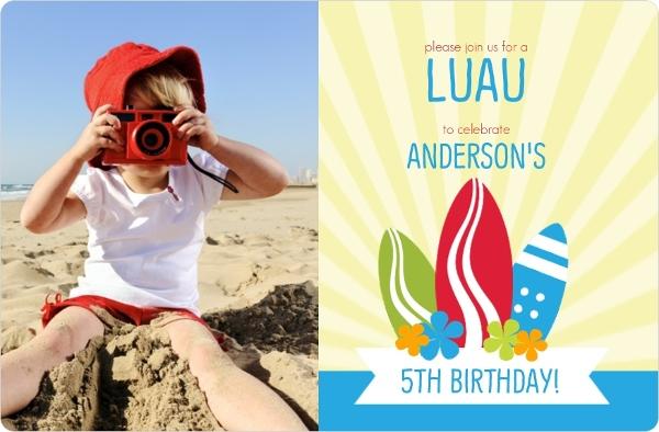 Blue Surf Birthday Party Invite